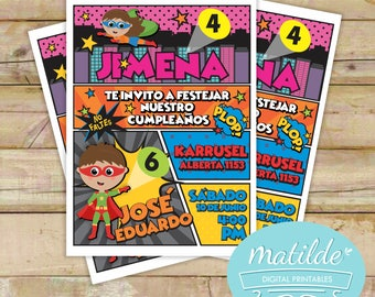 Superheroes Invitation Double Birthday, Birthday Party Superheroes, Party Comicbook Brothers Birthday