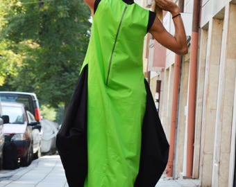 Women's Green Dress, Extravagant Zipper Dress, Summer Cotton Dress, Maxi Dress, Loose Dress, Day Dress by SSDfashion