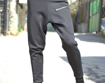 Black Neoprene Drop Crotch Harem Pants, Extravagant Pants Side Zipper, Loose Casual Trousers by SSDfashion