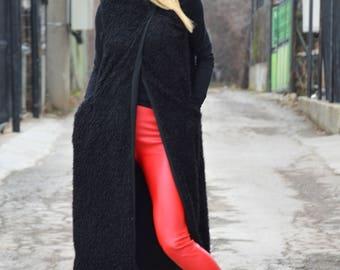 Loose Black Wool Coat, Mantle Winter Long Vest, Extravagant Woman Cloak, Maxi Plus Size Vest by SSDfashion
