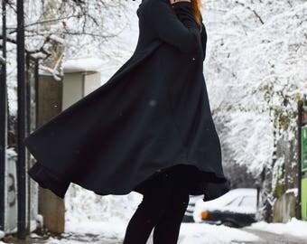 Black Loose Casual Shirt Dress, Long Asymmetric Tunic Dress, Plus Size Buttoned  Dress by SSDfashion