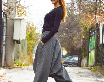 Loose Harem Shepherd's Plaid Pants, Extravagant Casual Low Bottom Trousers, Oversize rop Crotch Pants by SSDfashion