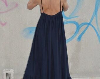 Black Dress, Backless Maxi Kaftan, Extravagant Sexy Long Dress, Cotton Dress, Oversized Casual Party Dress by SSDfashion