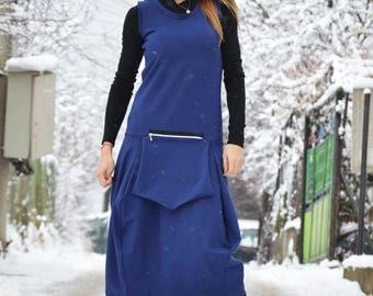 Sleeveless Blue Maxi Dress, Plus Size Kaftan with Front Pocket, Asymmetric Ladies Dress by SSDfashion