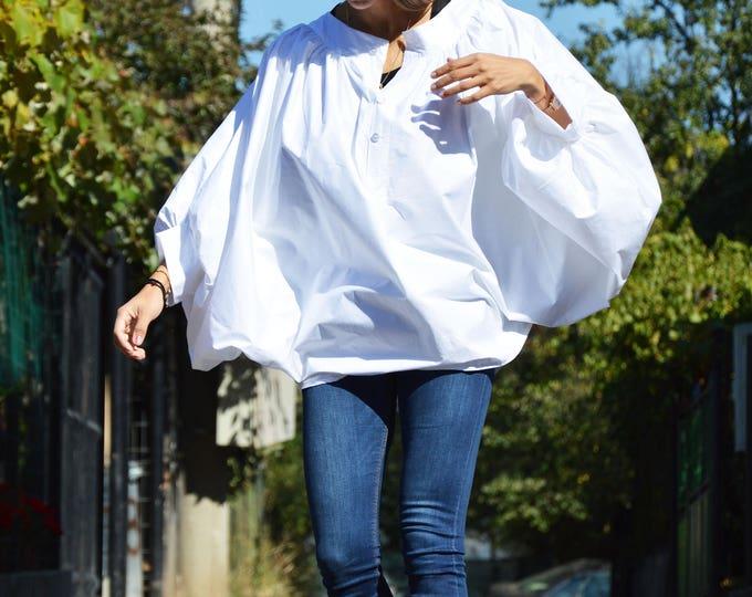 Plus Size White Cotton Shirt, Asymmetric Buttoned Casual Shirt, Short   Extravagant Sleeves, Modern Design by SSDfashion