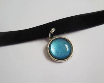 Black velvet blue pendant choker handmade