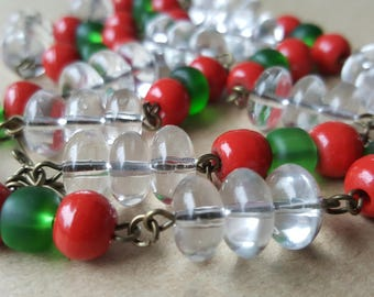Vintage Necklace Art Deco 1920s Czech Glass White Transparent  Red Green Beads Necklace