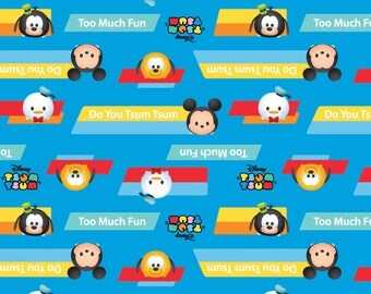 Tsum Tsum Do You Tsum Cotton Woven, Disney Tsum Tsum Fabric, Mickey Mouse Fabric, Minnie Mouse Fabric, Tsum Tsum Fabric, Mickey Fabric