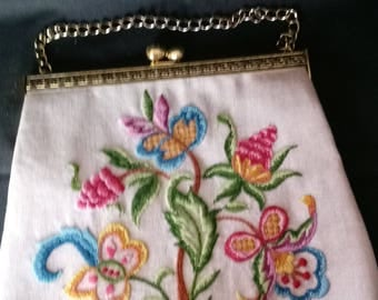 Vintage Hand Embroidered Floral Purse  Beautiful!!