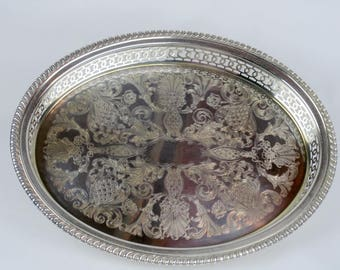 Towle Silverplate Oval Tray, Engraved Serving Platter 4194, 1960s