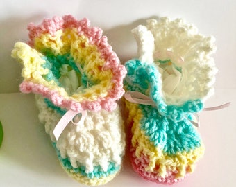 Handmade Crochet Baby Girl Booties- Soft Booties- Crib Booties- Baby Shower Gifts- Baby Girl Gifts- Gifts for New Baby- Babies Accessories