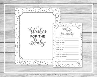 White and Silver Baby Shower Wishes for Baby Cards - Printable Baby Shower Wishes for Baby Cards - White Silver Baby Shower Wishes - SP154