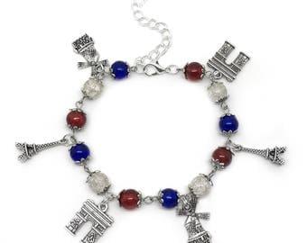French Flag Paris Charm Bracelet, Paris Holiday Memoir, France Holiday Gift, Paris Jewellery, Eiffel Tower Bracelet, Moulin Rouge Bracelet