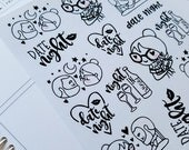 Cora - Date Night | jumbo monochrome character / color your own | Planner stickers