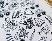 Summer Fun Cora | jumbo monochrome character / color your own | Planner stickers