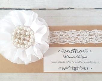 Newborn Baby girl toddler white flower headband. Pearl and rhinestone headband. christening headband. baptism headband
