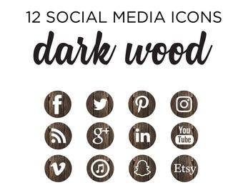 Social Media Icons - Rustic Wood Design - Blog graphics for photography, fashion, blog, website design - png files INSTANT DOWNLOAD