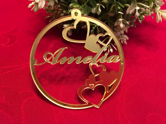 Gold Heart Decorations Valentines Gift Personalised Ornaments Personalized Laser Cut Acrylic Hearts Valentine's Day Tags Custom Name Baubles