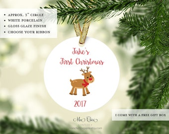 Reindeer Babys First Christmas Ornament | Custom Ornament | Christmas Ornament | Christmas Gift | Name Ornament | Personalized Gift Ornament