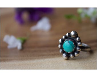 STERLING SILVER Beaded turquoise solitaire ring