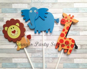 Set of 6 Safari Baby Shower Centerpieces, Jungle First Birthday Table Decor, Safari Animals Diaper Cake Toppers