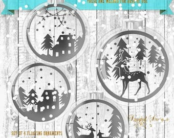 ON SALE Christmas Floating Ornament SVG Winter Scenes for inside of Ornament Vintage Christmas scene Snow Scene Glass Ball