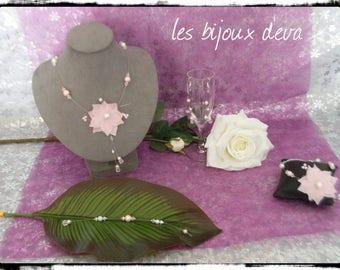 Silk Flower Adornment white pale powder pink