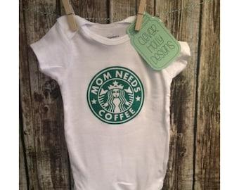 "Starbucks Coffee Baby Onesie, ""Mom Needs Coffee"" Funny Parody (unisex long sleeve or short sleeve bodysuit) [mom to be gift, new mom gift]"