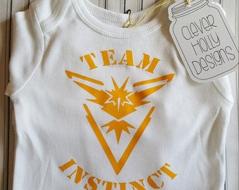 Pokemon Go Baby Onesie Team Instinct (also available Team Valor, Team Mystic) (short or long sleeve baby bodysuit) [Pokemon Baby Gift Idea]