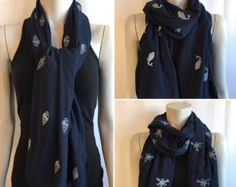 Navy Nautical scarf / Lightweight / Hand-Stamped / 100% Polyester