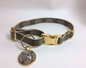 Gucci Dog Collar, Repurposed, Recycled, Upcycled, Reworked, Size small, medium, large, x-large, xx-large ,vintage gucci