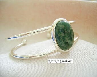 Bangle is oval cabochon, Green Jade, gemstone silver ring open, whimsical jewelry, women's fashion, timeless.