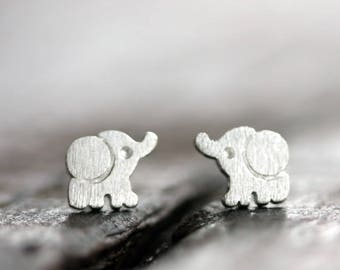 Earrings Elephant  Earring Silver Sterling Earrings Animal Earrings Symbol Minimalist Earrings  Mini Earrings  Silvertone Pierced Earrings