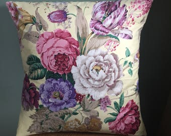 Large Vintage Sanderson yellow floral fabric cushion