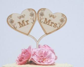 Mr and Mrs Heart Wedding Cake Topper, Mr and Mrs Cake topper, Wedding cake topper, Mrs and Mrs cake topper