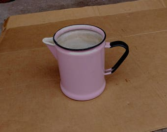 Vintage enamel pitcher granite jug pink rare color