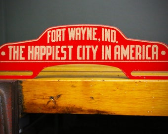 "Fort Wayne, IN ""Happiest City In America"" Vintage License Plate Topper Sign Rare Car Truck Rat Rod Red Accessory Collectible Patriot Flag"