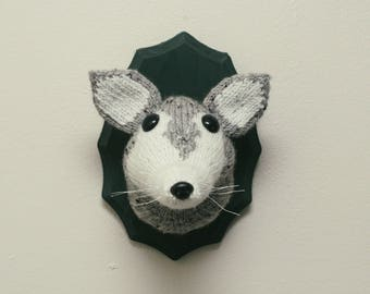 Faux Taxidermy Wolf - Knitted Wall Decor