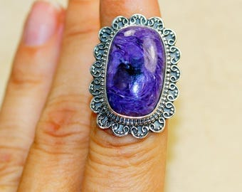 Charoite & 925 Sterling Silver Ring size 7 by Silver Trend