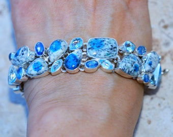 K2 Stone with Blue Topaz, Kyanite    set in Solid 925 Sterling Silver Bracelet by Silver Trend