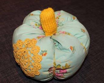 Turquoise and mustard yellow pumpkin pillow