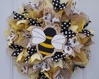 Summer Spring Bumble Bee wreath