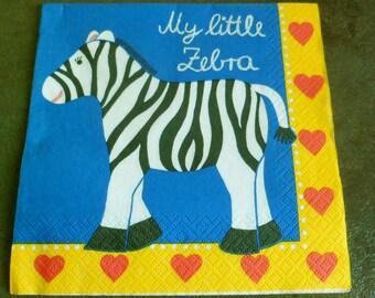 4 napkins paper Zebra, my little zebra paper towel