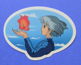 Sophie and Calcifer from Howls Moving Castle Vinyl Sticker