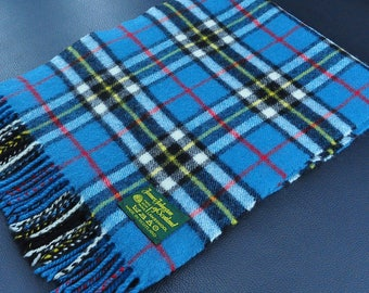 """James Johnstons of Scotland Scarf Plaid Pattern Multicolor Made in Scotland Lambswool Scarf 56"""" X 11"""""""