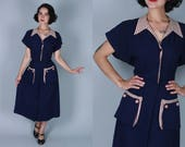 Vintage 1940s Dress | Dark Blue Rayon Day Dress with Houndstooth Accents | Large