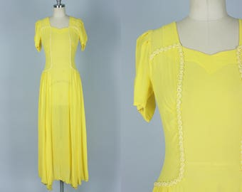 Vintage 1930s Dress | Brilliant Yellow Sheer Summer Gown with Buttons Up The Back | Extra Small