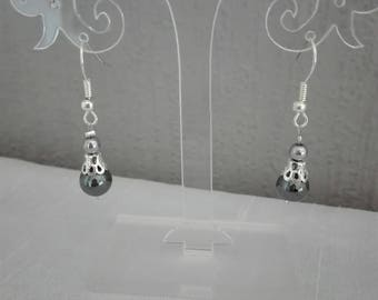 wedding ceremony Christmas black and silver Hematite beads earrings