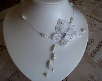 wedding bridal necklace holiday Butterfly witness bridesmaid evening white pearls