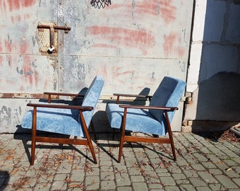 H. Lis Two Mid Century velvet Lounge Arm Chairs 1960s-70s